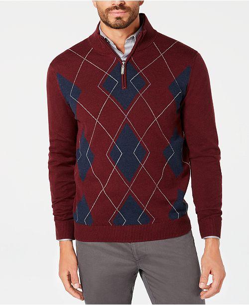 e4ffe34ef745 Club Room Men s Quarter-Zip Pima Argyle Sweater