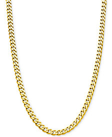 "Flat Curb Link Chain 24"" Necklace (8-7/8mm) in 18k Gold-Plated Sterling Silver"