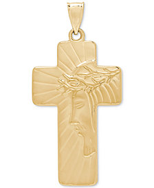 Debossed Cross Pendant in 10k Gold