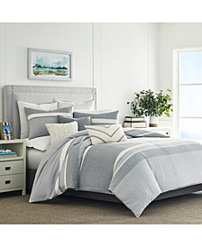 Nautica Clearview Gray Cotton 3-Pc. Stripe Full/Queen Duvet Cover Set