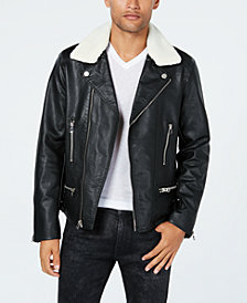 Reason Men's Moto Jacket with Fleece-Lined Collar