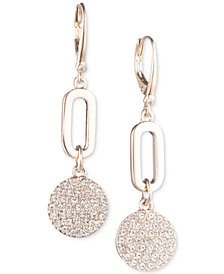 DKNY Gold-Tone Link & Pavé Disc Drop Earrings, Created for Macy's