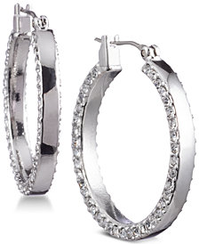 "DKNY 1"" Pavé Hoop Earrings, Created for Macy's"