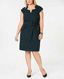 Kasper Plus Size Cap-Sleeve Stretch-Crepe Belted Dress