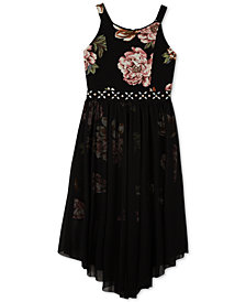 BCX Big Girls Plus Floral Overlay Dress