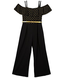 BCX Big Girls 1-Pc. Dot-Print Jumpsuit
