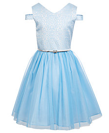 Us Angels Big Girls Metallic Jacquard Dress