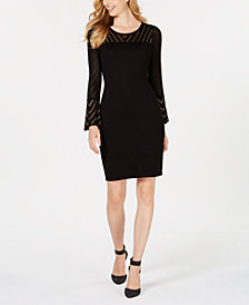 Calvin Klein Studded Pointelle Bell-Sleeve Dress