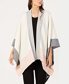 Eileen Fisher Recycled Cashmere Colorblocked Open-Front Sweater, Regular & Petite