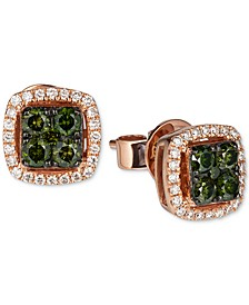 Exotics® Diamond Halo Stud Earrings (1/2 ct. t.w.) in 14k Rose Gold