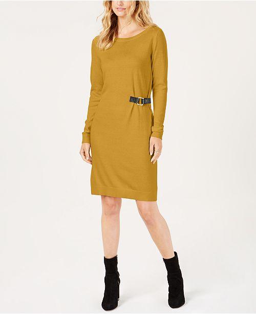 806801b8ec1 ... Michael Kors Buckle-Trim Sweater Dress