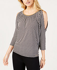 MICHAEL Michael Kors Embellished Cold-Shoulder Top