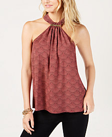 MICHAEL Michael Kors Embellished Halter Top, Created for Macy's