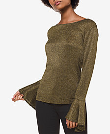 MICHAEL Michael Kors Metallic Bell-Sleeve Top