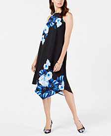Alfani Petite Floral-Print Asymmetrical A-Line Dress, Created for Macy's