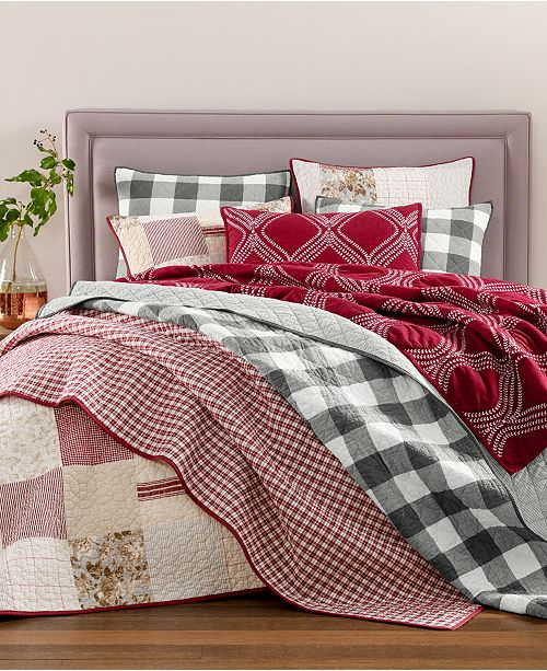 Martha Stewart Collection Yuletide Farmhouse Quilt and Sham Collection, Created for Macy's