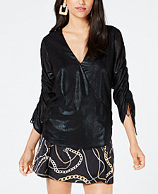 GUESS Metallic Ruched-Sleeve Top