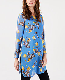 Alfani Printed Striped-Sleeve Chiffon Tunic, Created for Macy's