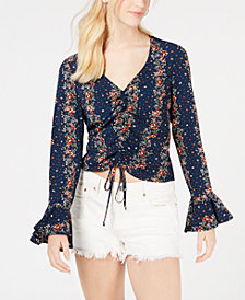 Gypsies & Moondust Juniors' Printed & Ruched Bell-Sleeve Top