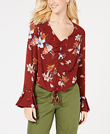 Be Bop Juniors' Printed & Ruched Bell-Sleeve Top
