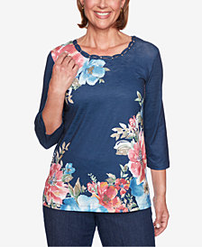 Alfred Dunner Petite News Flash Floral-Print Top