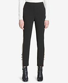 Calvin Klein Side-Stripe Straight-Leg Pants