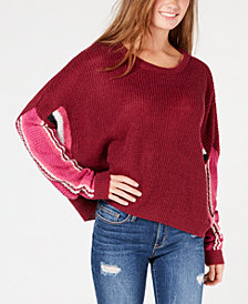 Ultra Flirt by Ikeddi Juniors' Striped Dolman-Sleeve Sweater
