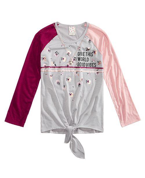 Big Girls 2-Pc. Colorblocked Tie-Front Raglan T-Shirt & Necklace Set