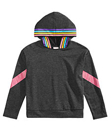 Belle Du Jour Big Girls Rainbow-Striped Hooded Top