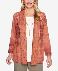 Alfred Dunner Petite Autumn in New York Pointelle-Knit Layered-Look Necklace Top