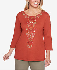 Alfred Dunner Petite Autumn in New York Embroidered 3/4-Sleeve Top