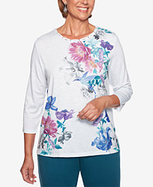 Alfred Dunner Petite Comfortable Situation Hummingbird-Print Top