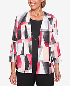 Alfred Dunner Petite Finishing Touches Layered-Look Necklace Top