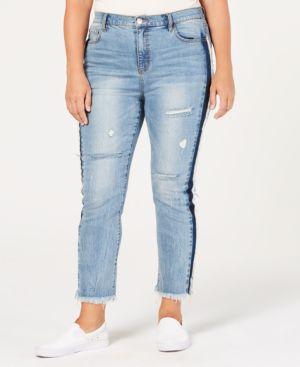 Shadow Distressed Raw-Hem Skinny Jeans, Plus Size in Blue