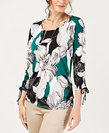 JM Collection Ruched-Sleeve Necklace Top, Created For Macy's
