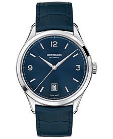 Montblanc Men's Swiss Automatic Heritage Chronométrie Blue Alligator Skin Leather Strap Watch 40mm