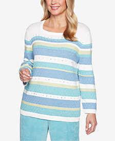 Alfred Dunner Petite Simply Irresistible Embellished Striped Sweater