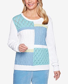 Alfred Dunner Petite Simply Irresistible Colorblocked Mixed-Pattern Sweater