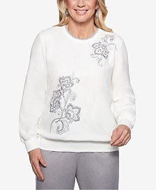 Alfred Dunner Petite Stocking Stuffers Embellished Floral Print Top