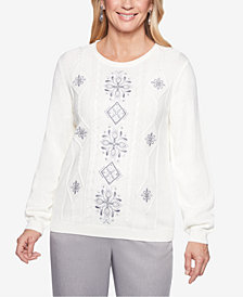 Alfred Dunner Petite Stocking Stuffers Embroidered Cable Knit Sweater