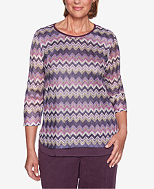 Alfred Dunner Petite Victoria Falls Zig-Zag Jacquard Top