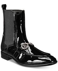Roberto Cavalli Men's Patent Moc-Toe Boots