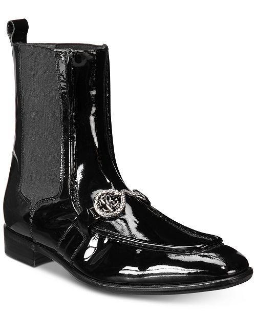 Roberto Cavalli Men s Patent Moc-Toe Boots - All Men s Shoes - Men ... 722ce0135