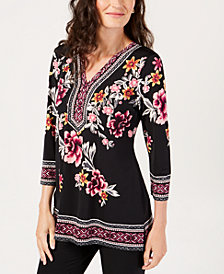 JM Collection Petite Printed Embellished-Neck Tunic, Created for Macy's