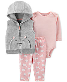 Carter's Baby Girls 3-Pc. Cat Fleece Vest, Bodysuit & Printed Leggings Set