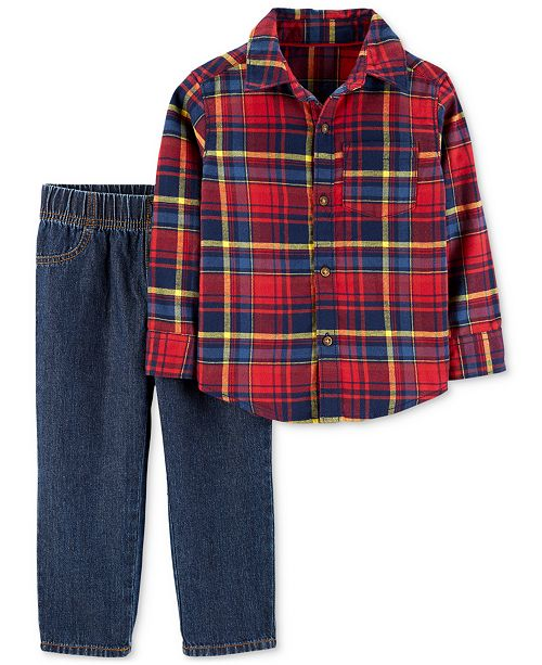 223746d65 Carter s Baby Boys 2-Pc. Cotton Plaid Shirt   Jeans Set   Reviews ...