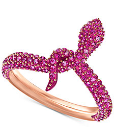 Swarovski Rose Gold-Tone Crystal Snake Ring