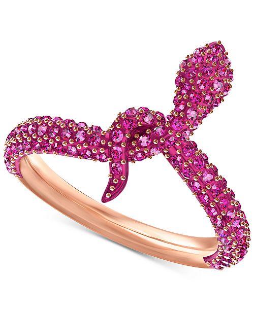 buy popular 0fed8 85bfc ... Swarovski Rose Gold-Tone Crystal Snake Ring ...