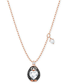 "Swarovski Rose Gold-Tone Crystal Penguin Pendant Necklace, 14-4/5"" + 3"" extender"
