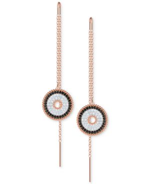 SWAROVSKI Rose Gold-Tone Pave Lollipop Threader Earrings in White